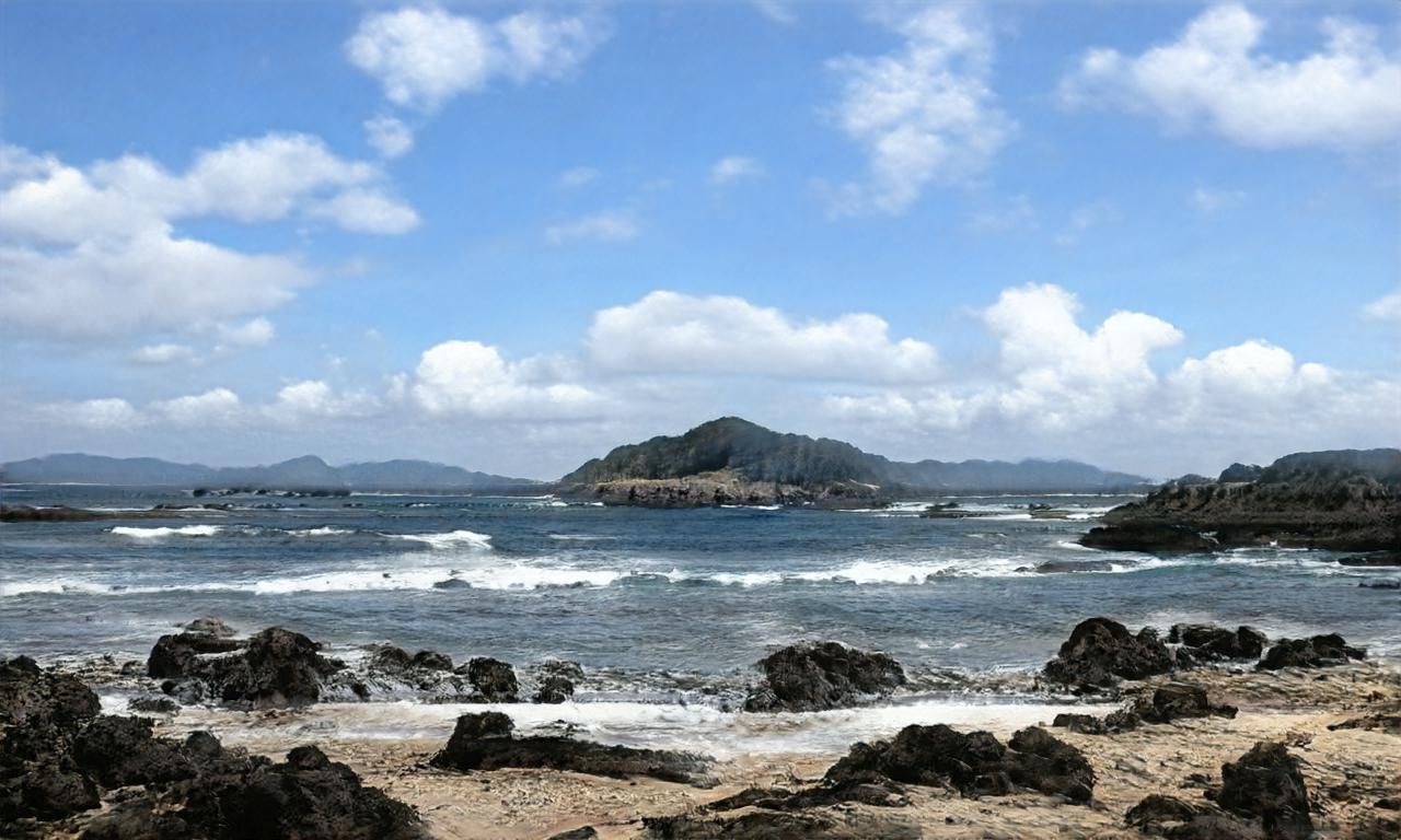 Annalyn Frame beach scene with rocks